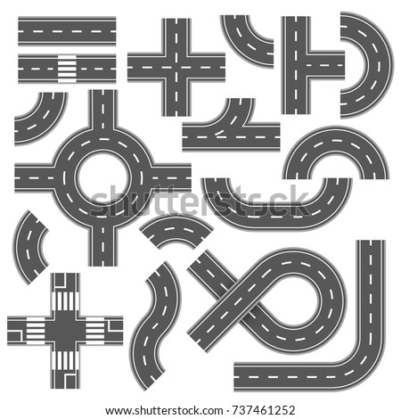Street and road with footpaths and crossroads. Vector elements for city map. Highway asphalt path traffic streets