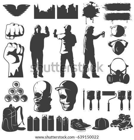 street art black white icons