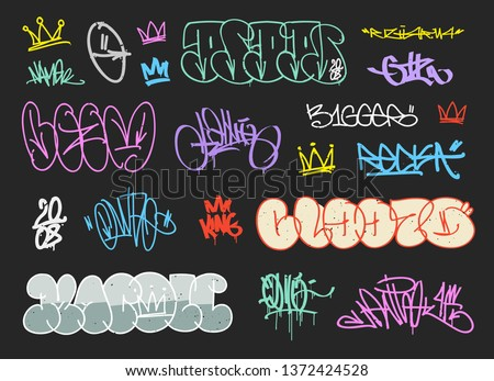 Street art graffiti signatures and colorful crown tags - hand drawn vector. Underground outline graffiti elements and  Hip Hop lettering for print fabric and textile design. Crown tag collection