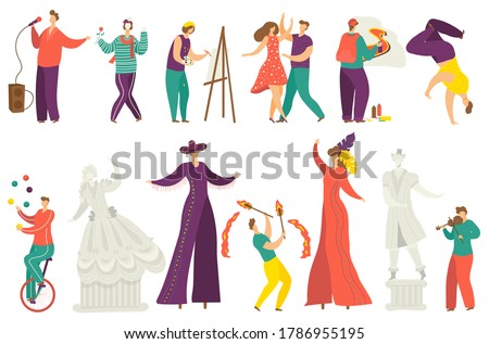 Street artist vector illustration set. Cartoon flat active artist characters performing show, acrobat juggling balls, musician playing music and singing. Artistic street performance isolated on white Photo stock ©