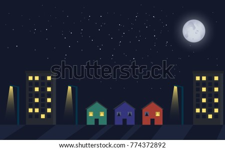 street at night with moon light