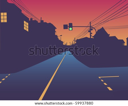 street at sunset