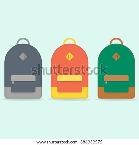 Street backpack. School backpack. Red, Blue, Green backpack