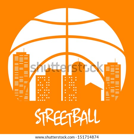 Street-ball town / Street-ball icon for sports design. Vector illustration. The different graphics are all on separate layers so they can easily be moved or edited individually.