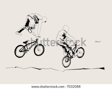 Street biker - stock vector