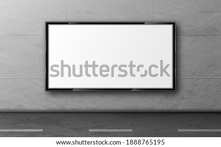 Street billboard for ad, display mockup hang on grey tiled wall along road. Blank white LCD screen, digital monitor for city advertising presentation. Horizontal background realistic 3d vector mock up Foto d'archivio ©