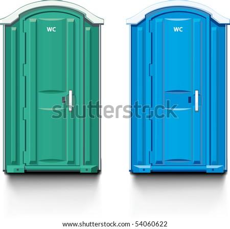 street bio-toilet. Blue and green.