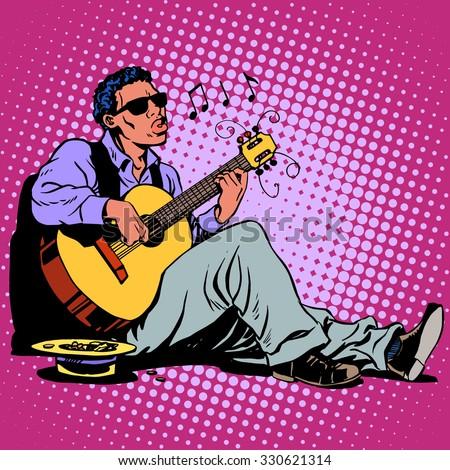 street blues musician of
