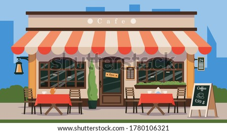 Street cafe. Cafe shop in old french style. Vintage wooden facade of a cafe with a canopy, wooden tables and chairs. Vector illustration of traditional popular place to meet, drink and eat.
