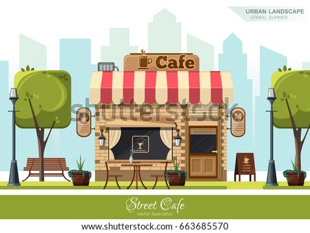 Street Cafe. Coffeeshop. City cafe. Urban spring summer landscape. Flat design concept. Vector illustration