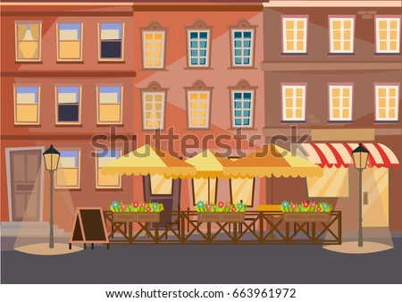 street cafe europe city vector