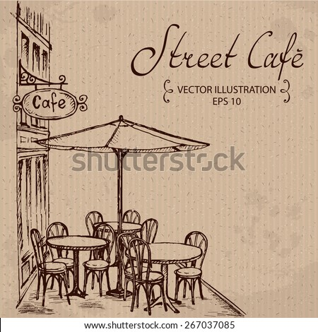 street cafe  hand drawn vector