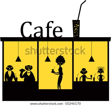 Street cafe silhouette. Vector illustration