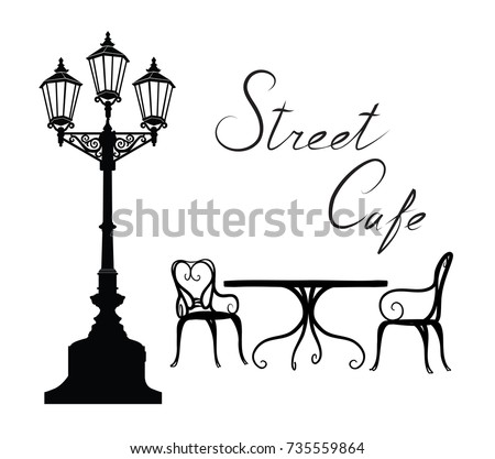 Street cafe - table, chairs, streetlight and lettering. City life design elements