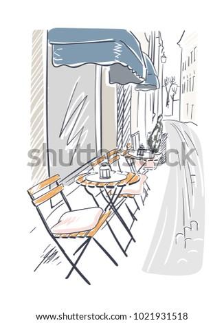 street cafe vector illustration