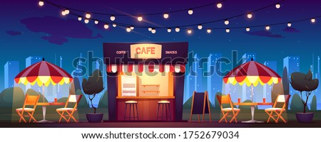 Street cafe with coffee and snacks at night. Vector cartoon cityscape with outdoor cafeteria with umbrellas, tables and chairs on sidewalk. Fast food shop in summer town park Сток-фото ©