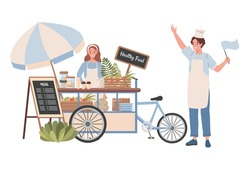 Street cart with healthy food and beverages vector flat illustration. Happy woman selling healthy natural food and coffee, smiling man invites customers to their cart. Street healthy food concept.