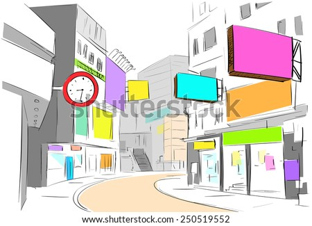 street center city view draw