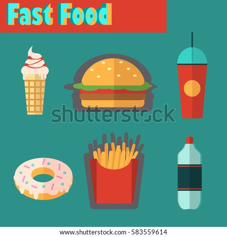 Street city food flat design. Fast food isolated icon setThe icons for the menu, site, banner, booklet