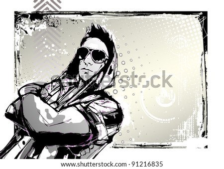 street dance poster - stock vector