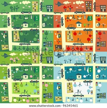 street during four seasons - stock vector