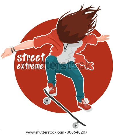 Street extreme girl with skateboard jumping