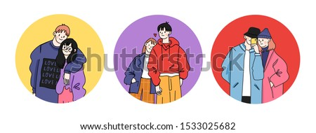 Street fashion look. Couples in love dressed in stylish trendy oversized clothes. Boys and girls. Korean japanese asian. Comic cartoon style. Manga anime. Hand drawn vector illustrations. Flat design