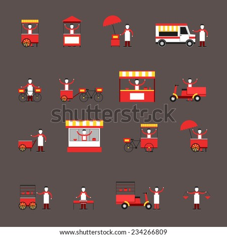 street fast food icon flat set
