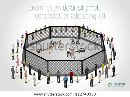 Street fight, conflict between business people on octagon ring - stock vector