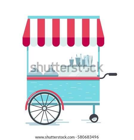 street food cart  vector...