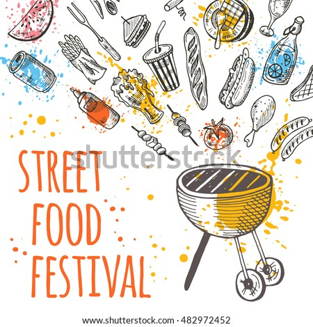 street food festival card hand