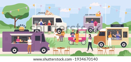 Street food festival. People eat at summer outdoor truck fair with fast foods, pizza and ice cream van, popcorn cart. Flat vector park event
