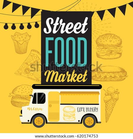 Street food festival poster. Design with hand-drawn graphic elements in doodle style.