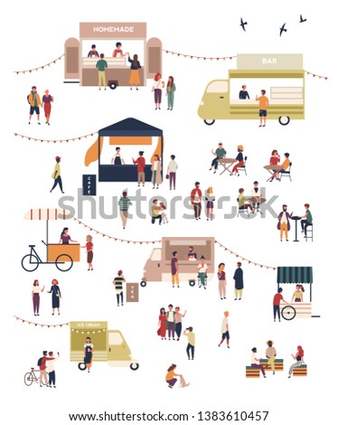 Street food festival with people walking among vans or stalls, buying and eating homemade meals at outdoor cafes or restaurant. Modern flat cartoon vector illustration for banner, poster for event.
