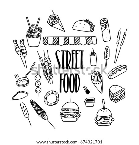 Street food hand drawn doodle icons. Kinds of fast food.
