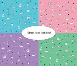Street food icon ser seamless patter design