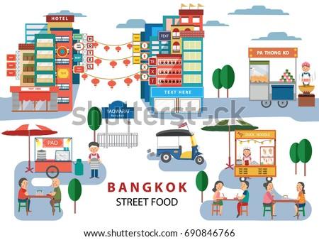 Street Food in Bangkok , Thailand, with cartoon flat design style , illustration, vector
