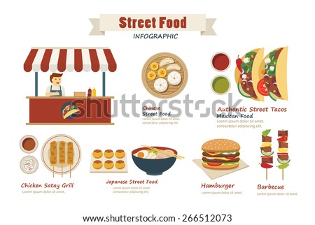 street food infographic  flat