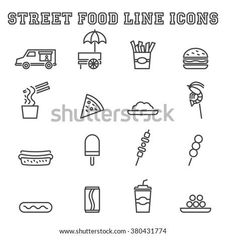 street food line icons  mono