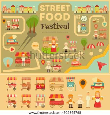 Street Food on City Map. Food carts on Infographic Card. Sellers and Trucks with Food. Vector Illustration.