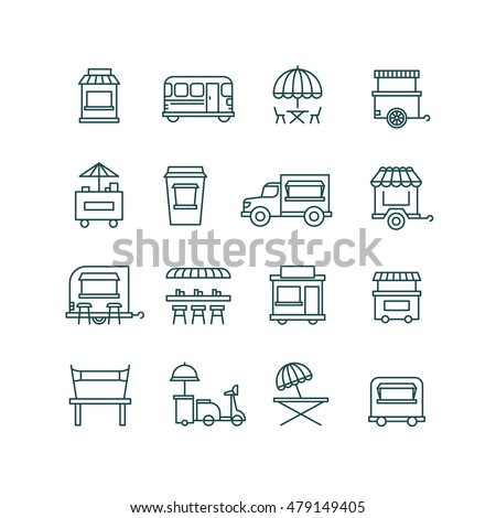 Street food retail, food truck line vector icons. Facade mobile cafe and restaurant illustration