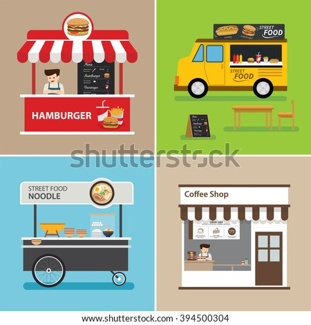 street food shop flat design