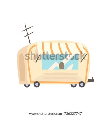 Street food trailer, fast food truck cartoon vector Illustration