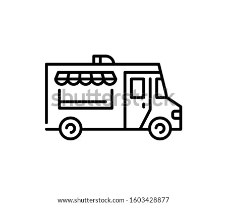 Street food truck icon template. Vector line trade van illustration. Mobile cafe car logo background. Festival shop transport to cook and sell meals