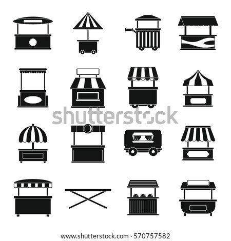 Street food truck icons set. Simple illustration of 16 street food truck vector icons for web