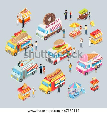street food trucks set mexican