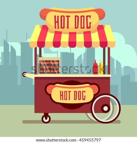 Street food vending cart with hot dogs vector illustration. Urban kiosk for sale hotdogs