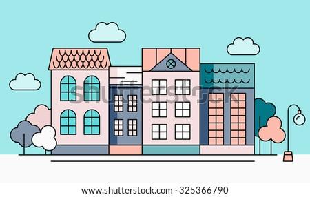 street houses vector...