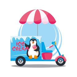 Street ice cream cart driven by a scooter under an umbrella, decorated with a penguin character. Moto truck, mobile point of sale.