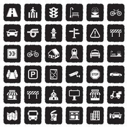 Street Icons. Grunge Black Flat Design. Vector Illustration.
